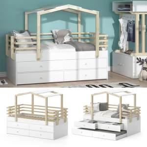 VITALISPA 'Pippi' Hausbett 90x200 cm, Erle weiß, inkl. Lattenrost, Bettschubladen und Gästebett