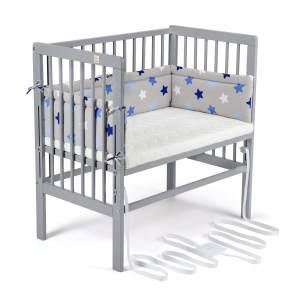 FabiMax 4840 'BOXSPRING' Beistellbett grau, inkl. Matratze 'COMFORT' und Nestchen 'Sterne' blau auf grau