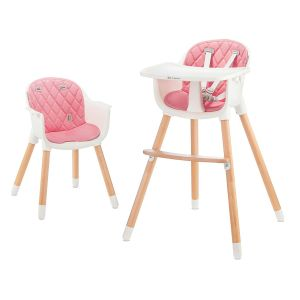 Kinderkraft 'Sienna' Kinderhochstuhl 2 in 1 Pink, Beine aus Holz, 5-Punkt-Gurt, Fußstütze, rutschfeste Stuhlbeinkappen inkl. abnehmbares Essbrett