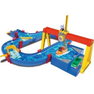 AquaPlay 'Containerhafen' Wasserbahn, 104 x 90 x 25 cm, 16 Teile, inkl. Kran, Wasserweiche, Boot, Amphibienauto und zwei Spielfiguren
