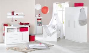 Roba 'Maren' 3-tlg. Babyzimmer-Set weiß inkl. Kinderbett, Wickelkommode und Kleiderschrank