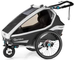 Qeridoo 'Kidgoo2 Pro' Fahrradanhänger 2020 Dunkelgrau, 2-Sitzer, inkl. XXL Kofferraum, Verdeck, 360°Grad-Belüftungssystem