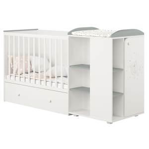 Polini kids 'Fench 950' Kombi-Kinderbett 60x120 cm, Teddy, weiß-grau, mit integrierter Wickelkommode, Umbausatz und Bettschublade, umbaubar zum Jugenbett 90x200 cm