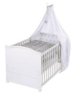 Roba 'Lukas' Kombi-Kinderbett weiß, 70 x 140 cm, inkl. Matratze und Ausstattung 'Little Stars'