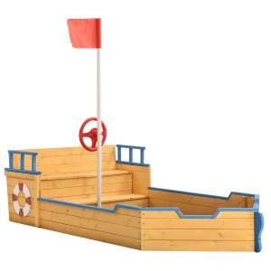 Juskys 51181 'Käpt'n Pit' Piratenschiff, Sandkasten, 195 x 94 x 136 cm, ab 3 Jahren, ink. Bodenplame und Sitzbank, Holz, natur