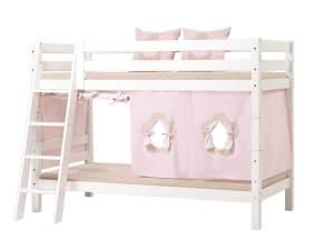 Hoppekids 'Premium' Etagenbett weiß, mit schräger Leiter, inkl. Lattenrost und extra Schutzvorrichtung