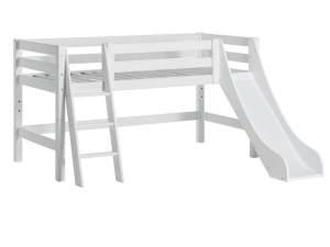 Hoppekids 'Premium' Halbhochbett weiß, schräge Leiter, 70x160 cm