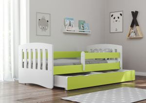 Bjird 'Classic' Kinderbett 80 x 160 cm, Grün, inkl. Rausfallschutz, Lattenrost und Bettschublade