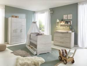 Arthur Berndt 'Leon' Babyzimmer Komplettset 3-teilig, Kinderbett (70 x 140 cm), Wickelkommode mit Wickelaufsatz und Kleiderschrank Light Wood