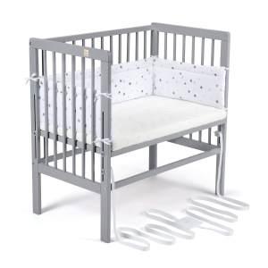 FabiMax 4844 'BOXSPRING' Beistellbett grau, inkl. Matratze 'COMFORT' und Nestchen 'Sterne' grau auf weiß