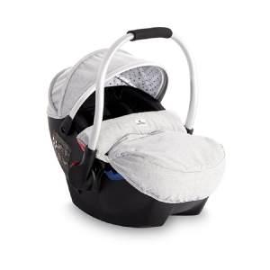 Lorelli Babyschale Rimini Gruppe 0+ (0-13 kg), weiches Kopfkissen, Fußabdeckung hellgrau