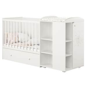 Polini kids 'Fench 950' Kombi-Kinderbett 60x120 cm, Teddy, weiß, mit integrierter Wickelkommode, Umbausatz und Bettschublade, umbaubar zum Jugenbett 90x200 cm