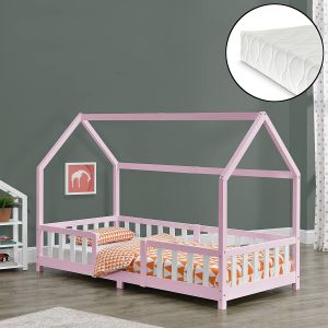en.casa 'Sisimiut' Hausbett 90x200 cm, rosa/weiß, Kieferholz, inkl. Matratze, Rausfallschutz und Lattenrost
