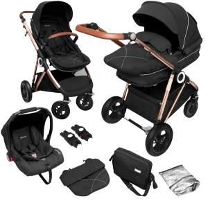 BabyGO 'Halime Air' Kombikinderwagen 4plusin1 Anthrazite/ Gestell Rosegold inkl. Sitz, Wanne, Babyschale, Wickeltasche, Adapter, Fußsack, Regenfolie