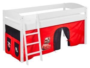 Lilokids 'Ida 4105' Spielbett 90 x 200 cm, Disney Cars, Kiefer massiv, mit Vorhang