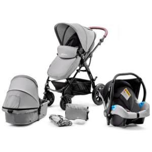 Kinderkraft 'Moov' Kombikinderwagen 3 in 1 Grey, inkl. Babywanne, Babyschale, Fußsack, Wickeltasche, Insekten - und Regenschutz