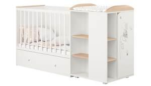 Polini kids 'Fench 950' Kombi-Kinderbett 60x120 cm, Amis, weiß-eiche, mit integrierter Wickelkommode, Umbausatz und Bettschublade, umbaubar zum Jugenbett 90x200 cm