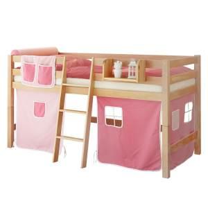 Ticaa 'Tipsi' Halbhochbett natur, inkl. Vorhang rosa/pink