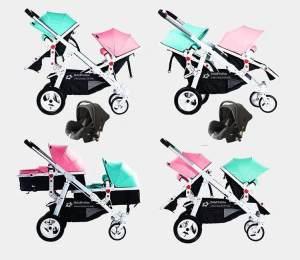 Babyfivestar Geschwisterwagen Türkis / Pink inkl. zwei Babyschalen