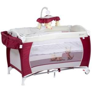BabyGO 'Sleeper deluxe' Reisebett 60x120 cm, rot, mit Matratze, Wickelauflage, Mobile und Schlupf