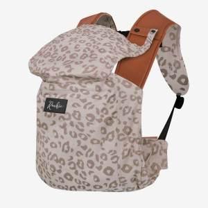 ROOKIE Revolution Babytrage ab Geburt bis 20kg | Design Bauch- und Rückentrage | Für Neugeborene - Leopard Print Beige