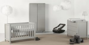 Quax 'Stripes' 3-tlg. Babyzimmer-Set Griffin Grey 70x140 cm, 2-Türig