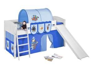 Spielbett 'LANDI/R' weiß inkl. Vorhang 'Pirat Blau'