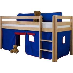Halbhohes Spielbett ALEX Buche massiv natur lackiert mit Stoffset blau/rot