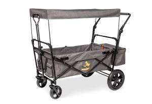 Pinolino Klappbollerwagen 'Piet Comfort' in Grau, inkl. Feststellbremse, Sonnendach, höhenverstellbarer Griff und Zugstange