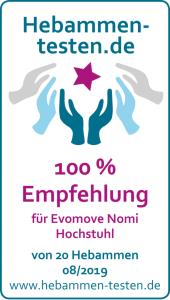100 % der Hebammen empfehlen den Nomi Hochstuhl