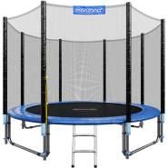 Monzana Trampolin, 305 cm Durchmesser, maximal belastbar bis 150 kg, inkl. verstärktem Sicherheitsnetz und Einstiegsleiter, Konstruktion mit hoher Stabilität