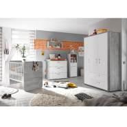 Storado 'Frieda' 5-tlg. Babyzimmer-Set für Zwillinge, vintage wood/grey weiß matt, aus 2 Betten 70x140 cm, Kleiderschrank, Wickelkommode und Wandregal