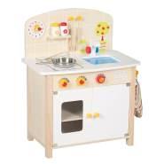 roba Spielküche, Kinderküche aus Holz, weiß/natur, Spielzeug-Küchenzeile mit 2 Kochstellen, Spüle, Wasserhahn & Zubehör