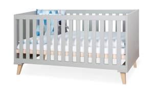 Bellabino 'Gora' Babybett 70x140 cm, grau, 3-fach höhenverstellbar, 3 Schlupfsprossen, umbaubar zum Juniorbett, inkl. Umbauseite