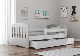 Bjird 'Classic' Kinderbett 80 x 160 cm, Grau, inkl. Rausfallschutz, Lattenrost und Bettschublade