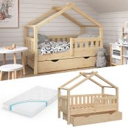 VitaliSpa 'Design' Kinderbett 70 x 140 cm, natur, Massivholz Kiefer, inkl. Schublade und Matratze