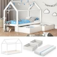 VitaliSpa 'Wiki' Hausbett 90x200 cm Weiß inkl. Faltboxen und Matratze