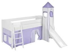 Lilokids 'Ida 4106' Spielbett 90 x 200 cm, Lila Beige, Kiefer massiv, mit Turm, Rutsche und Vorhang