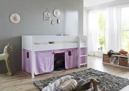 Relita 'Luka' Halbhohchbett 90x200 MDF/Buche weiß lackiert, mit Vorhang purple/rosa