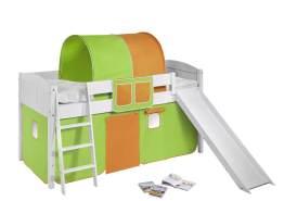 Spielbett 'LANDI/R' weiß inkl. Vorhang Grün Orange