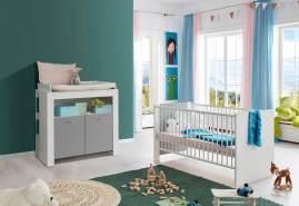Babyzimmer Pia weiß/grau komplett Set 2-teilig inkl. Wickelkommode und Babybett