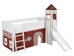 Lilokids 'Ida 4106' Spielbett 90 x 200 cm, Trecker Braun Beige, Kiefer massiv, mit Turm, Rutsche und Vorhang