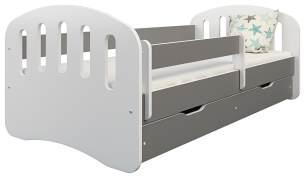 Clamaro 'Joy' Kinderbett 80x160 cm, weiß/grau, inkl. Matratze, Lattenrost und Bettkasten