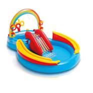 Intex 'Rainbow Ring Playcenter' 2-in-1-Planschbecken, 297 x 193 x 135 cm, ab 2 Jahren, inkl. großem und kleinem Pool, Rutsche, Regenbogendusche und verschiedenen Ball- und Ringspielen