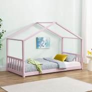 Juskys 'Paulina' Hausbett 90 x 200 cm, rosa, mit Lattenrost, Kiefer massiv