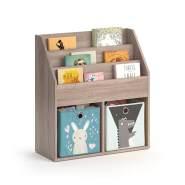Vicco 'LUIGI' Kinderregal, sonoma, mit 3 Fächern für Bücher und 2 Fächern für Faltboxen