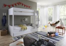 Relita 'Luka' Etagenbett 90x200 cm weiß lackiert mit Bettschublade