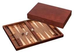 Philos 1144 'Kastos' Backgammon, medium, Kassette mit Magnetverschluss, Wurzelholzoptik, inkl. Steinablage