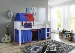 Relita 'Luka' Halbhochbett 90x200 MDF/Buche weiß lackiert, mit Vorhang, 1-er Tunnel und Tasche blau/rot