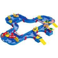 AquaPlay 'Multi-Set' Wasserbahn, 145 x 160 x 22 cm, inkl. Kran, Wasserpumpe, Paddelrad, Boot, Wasserfahrzeug und kleinem Fähranleger